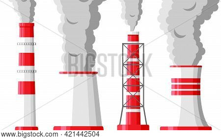 Smoking Factory Pipes Against White Background. Plant Pipe With Dark Smoke. Carbon Dioxide Emissions
