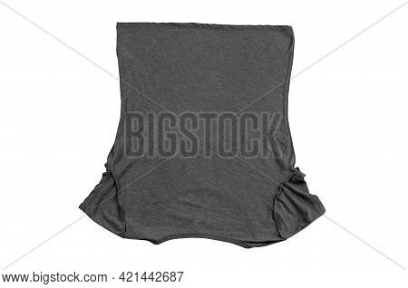Step-by-step Instructions Marie Condo Folding Method. Step 1. Gray T-shirt Isolated On A White Backg
