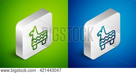 Isometric Line Pinata Icon Isolated On Green And Blue Background. Mexican Traditional Birthday Toy.
