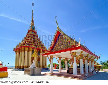 Uthaithani, Thailand - 23 May 2021:wat Sangkat Rattana Khiri In Uthai Thani, A Northern Province Of