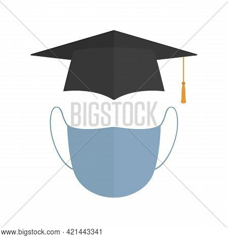 Mortarboard And Medical Mask. Cartoon Style. Vector Illustration.