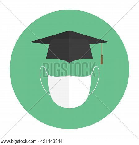 Mortarboard And Medical Mask. Higher Education During Quarantine. Vector Icon.