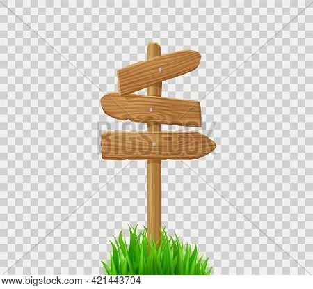 Wooden Direction Signs On Post In Green Grass. Signboard With Wood Arrows On Lawn Or Field. Vector R