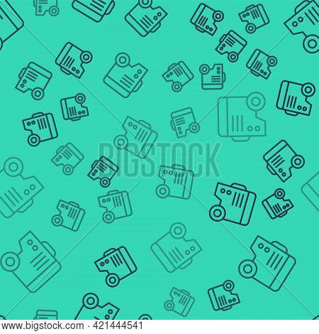 Black Line Portable Power Electric Generator Icon Isolated Seamless Pattern On Green Background. Ind