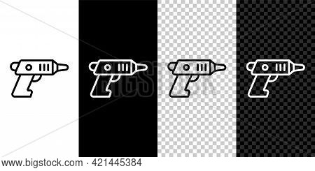 Set Line Electric Cordless Screwdriver Icon Isolated On Black And White, Transparent Background. Ele