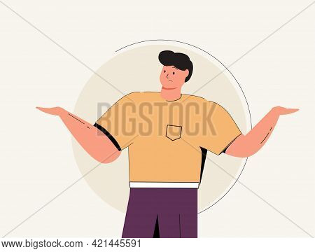 Business Man Is Confused, Thinking Businessman. Business Concept - Vector Illustration. Man Showing