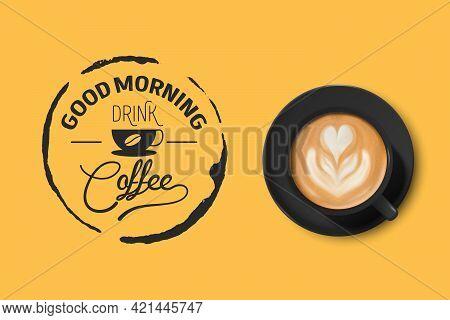 Vector 3d Realistic Black Ceramic Porcelain Mug With Foam Coffee - Capuchino, Latte, Americano. Coff