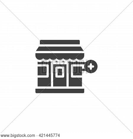Drugstore Building Vector Icon. Filled Flat Sign For Mobile Concept And Web Design. Medical Pharmacy