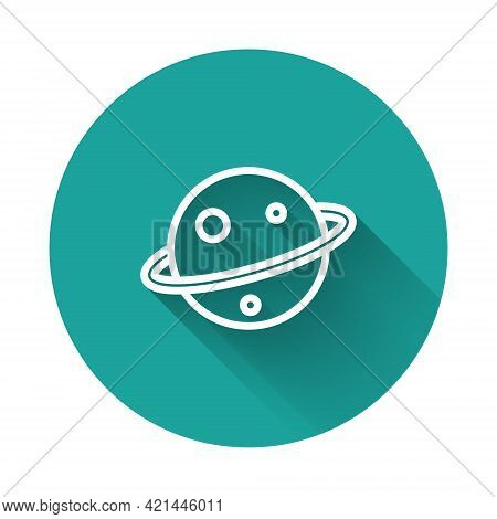 White Line Planet Saturn With Planetary Ring System Icon Isolated With Long Shadow Background. Green