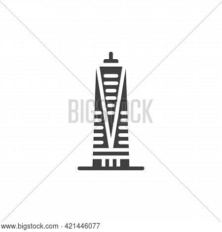 Skyscraper Building Vector Icon. Filled Flat Sign For Mobile Concept And Web Design. Skyscraper Glyp