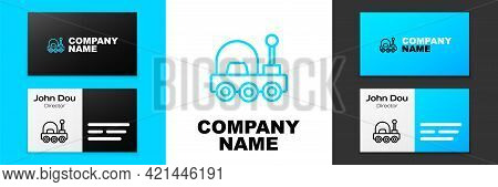 Blue Line Mars Rover Icon Isolated On White Background. Space Rover. Moonwalker Sign. Apparatus For