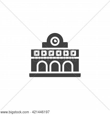 Railway Station Vector Icon. Filled Flat Sign For Mobile Concept And Web Design. Train Station Build