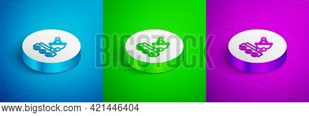 Isometric Line Mars Rover Icon Isolated On Blue, Green And Purple Background. Space Rover. Moonwalke