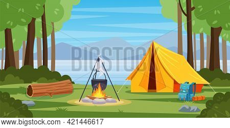 Summer Camp In Forest With Bonfire, Tent, Backpack . Cartoon Landscape With Mountain, Forest And Cam