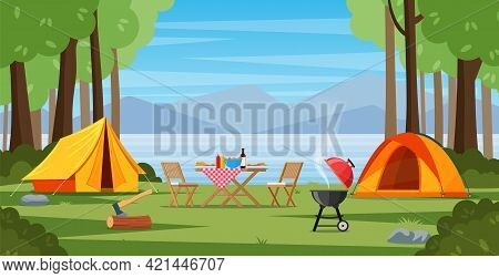 Camping Tent Near The Lake And Mountains. Summer Or Spring Landscape. Cartoon Tourist Camp With Picn