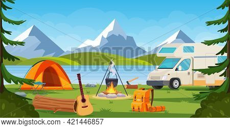 Summer Camp In Forest With Bonfire, Tent, Van, Backpack And Lantern. Cartoon Landscape With Mountain