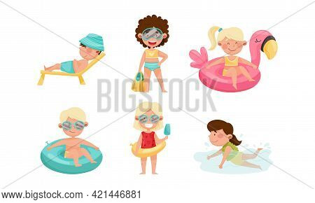 Children At Sea Shore Playing Sunbathing And Swimming In Water Vector Set