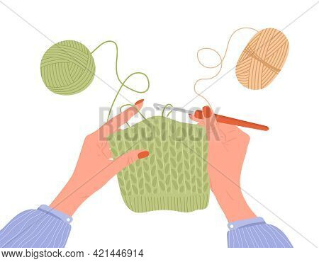 Crochet Knitting Process. Female Hands With Hook And Thread. Balls Of Yarn. Top View Of The Workplac