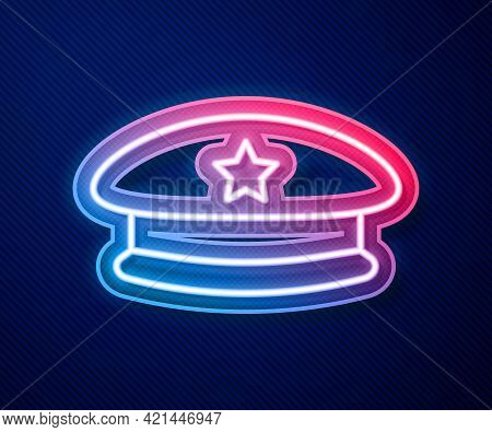 Glowing Neon Line Military Beret Icon Isolated On Blue Background. Soldiers Cap. Army Hat. War Baret