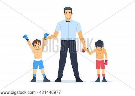 Referee Lighting Hand Of Winner Standing With Loser In Boxing Ring. Professional Boxing Among Boys C