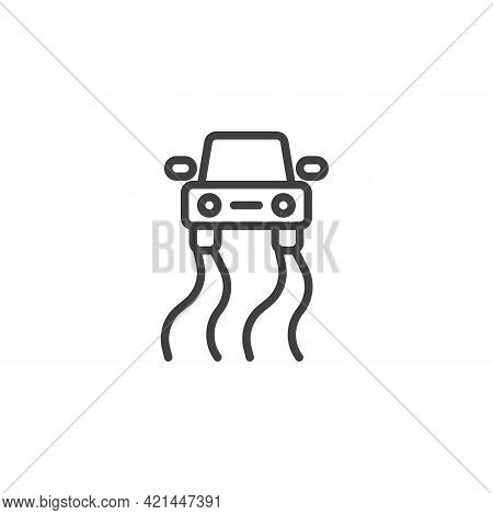 Traction Control System Line Icon. Linear Style Sign For Mobile Concept And Web Design. Anti-slip Re
