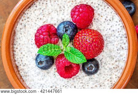 Chia Seed Pudding Made With Fruits And Fresh  Berries. Macro. Chia Seeds Coconut Yogurt.