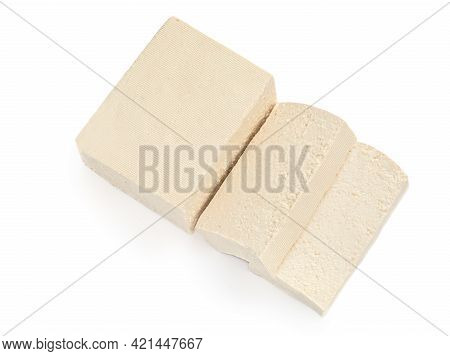Tofu Cheese Isolated On White Background. Diced Tofu Cutted In A Slices  Top View. Flat Lay. Food Co