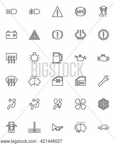 Vehicle Dashboard Line Icons Set. Linear Style Symbols Collection, Outline Signs Pack. Dashboard Ind
