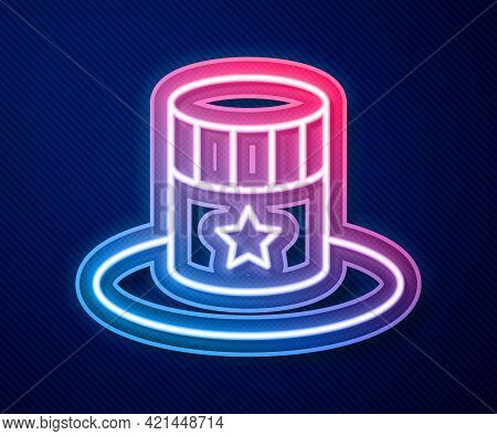 Glowing Neon Line Patriotic American Top Hat Icon Isolated On Blue Background. Uncle Sam Hat. Americ