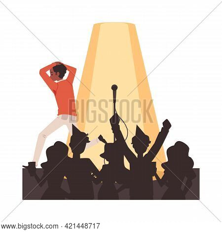 Man With Fear Of Public Speaking Runs Away From Crowd, Flat Vector Illustration.