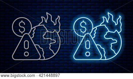Glowing Neon Line Global Economic Crisis Icon Isolated On Brick Wall Background. World Finance Crisi
