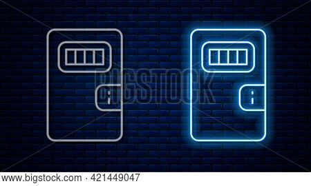 Glowing Neon Line Prison Cell Door With Grill Window Icon Isolated On Brick Wall Background. Vector
