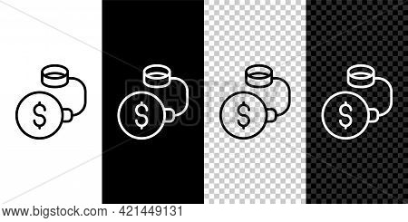 Set Line Debt Ball Chained To Dollar Coin Icon Isolated On Black And White, Transparent Background.