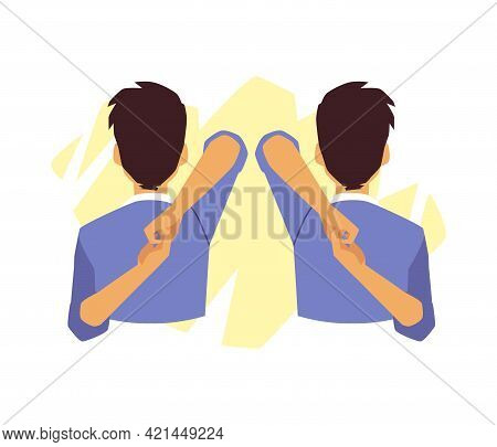 Man Doing Exercises To Relieve Neck Pain, Flat Vector Illustration Isolated.