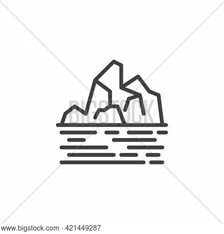 Landscape With Mountain And Lake Line Icon. Linear Style Sign For Mobile Concept And Web Design. Nat