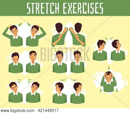 Exercises For Health And Stretch Of Neck For Relief Pain At Office Syndrome.