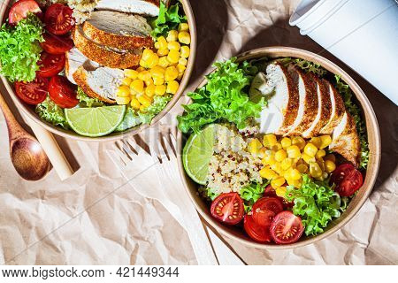 Chicken And Quinoa Salad With Corn And Tomatoes In A Craft Eco Bowl, Craft Paper Background. Zero Wa