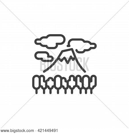 Mountain Forest And Clouds Line Icon. Linear Style Sign For Mobile Concept And Web Design. Volcano M