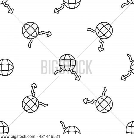 Grey Line Global Economic Crisis Icon Isolated Seamless Pattern On White Background. World Finance C