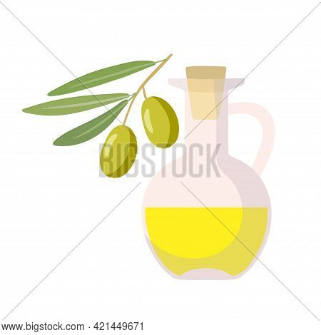 Bottle Of Oil And Olive Branch With Leaves. Fresh Extra Virgin Olive Oil. Overhead View Of Olives On