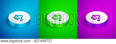 Isometric Line Dollar Rate Decrease Icon Isolated On Blue, Green And Purple Background. Cost Reducti