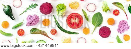Healthy Vegan Food Panoramic Banner. Fresh Vegetables And Other Salad Ingredients, Top Shot On A Whi