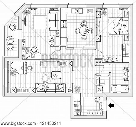Architectural Plan Of A House, Top View. Layout Of The Apartment With The Furniture In The Drawing V