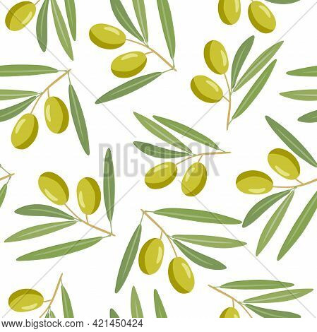 Branch With Olives And Leaves Seamless Pattern. Overhead View Of Berry On Green Branch. Illustration