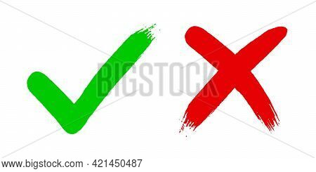 Cross X And Tick V Ok Check Mark Vector Illustration Isolated On White Background. Two Dirty Grunge