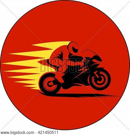 Vector Illustration Of Motorcycle Racer On Sportbike
