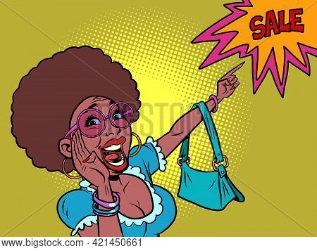 African Woman Shouts Discount Sale. The Buyer Points With His Hand