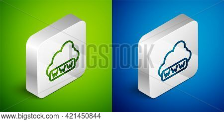 Isometric Line Software, Web Development, Programming Concept Icon Isolated On Green And Blue Backgr