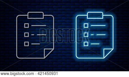 Glowing Neon Line Clipboard With Checklist Icon Isolated On Brick Wall Background. Control List Symb