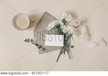 Feminine Breakfast Composition. Business Card Mockup. Wedding Or Birthday Stationery. Cup Of Coffee,